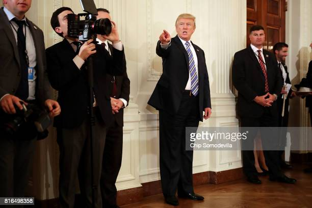 S President Donald Trump waits to take the stage during a Made in America product showcase in the East Room of the White House July 17 2017 in...