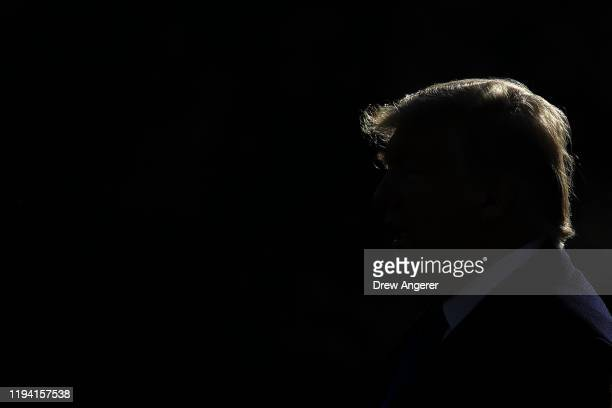 President Donald Trump walks across the South Lawn toward Marine One at the White House on January 17 2020 in Washington DC The Trump family is...