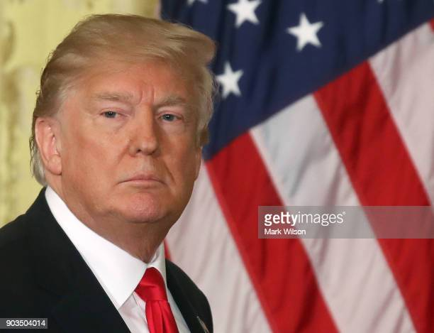 S President Donald Trump walks away after a news conference with Prime Minister Erna Solberg of Norway in the East Room at the White House on January...