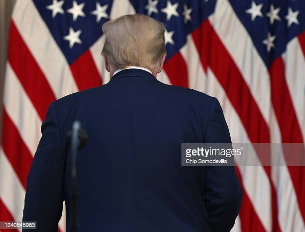 President Donald Trump walks away after making a statement in the Rose Garden about the ongoing unrest across the nation on June 1, 2020 in...