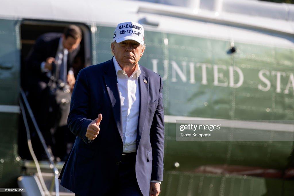 President Trump Returns To White House After Weekend At Bedminster, NJ Resort : ニュース写真