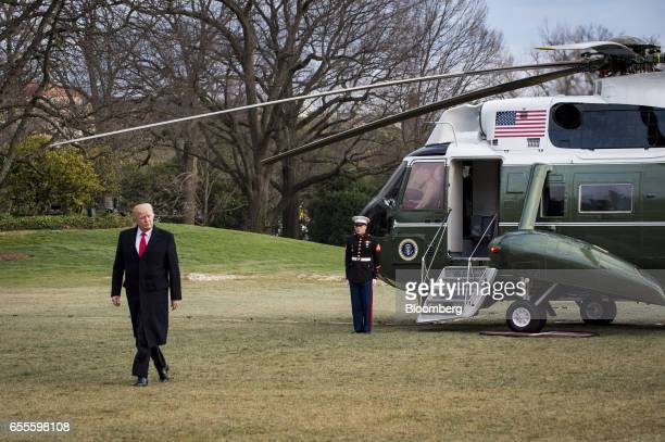 US President Donald Trump walks on the South Lawn towards the White House after arriving on Marine One in Washington DC US on Sunday March 19 2017...