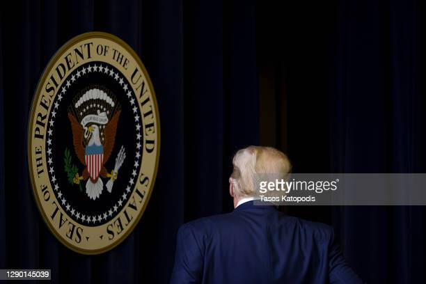 President Donald Trump walks out after speaking at the Operation Warp Speed Vaccine Summit on December 08, 2020 in Washington, DC. The president...