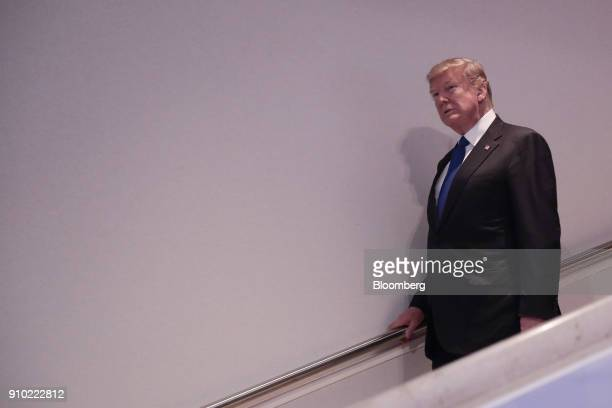 US President Donald Trump walks through the Congress Center on day three of the World Economic Forum in Davos Switzerland on Thursday Jan 25 2018...