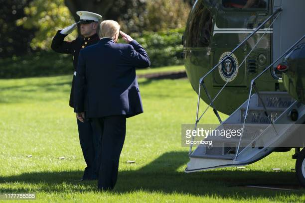 US President Donald Trump walks to board Marine One in Washington DC US on Wednesday Oct 23 2019 Trump had advance knowledge and supported a protest...