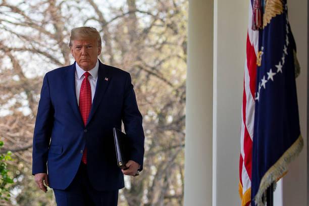 DC: President Trump Holds Daily Coronavirus Task Force Briefing In Rose Garden