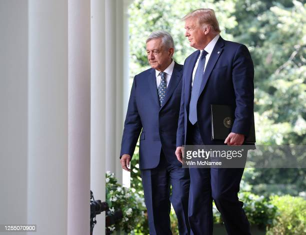 S President Donald Trump walks to the Rose Garden with Mexican PresidentAndrés Manuel López Obrador at the White House July 8 2020 in Washington DC...