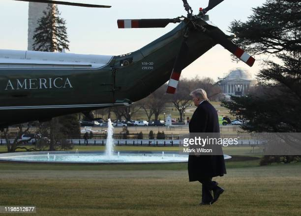 President Donald Trump walks toward Marine One before departing the White House on January 9, 2020 in Washington, DC. President Trump is traveling to...