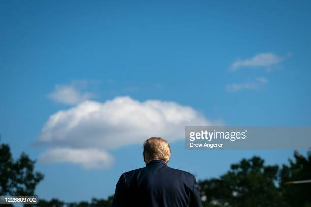 President Donald Trump walks toward Marine One on the South Lawn of the White House on September 30, 2020 in Washington, DC. President Trump is...