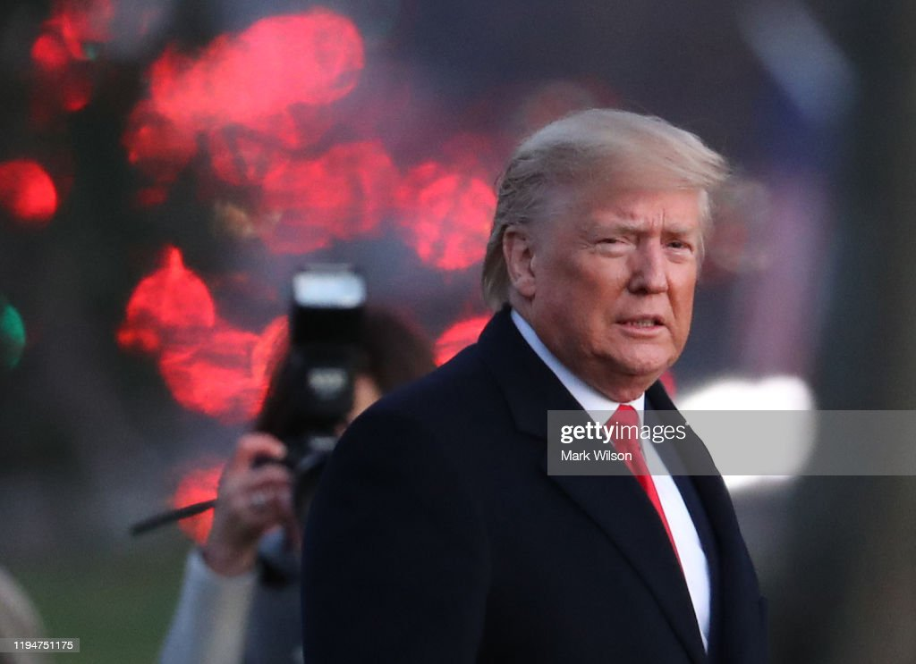 President Trump Departs White House For Michigan Campaign Rally On Day Of House Impeachment Vote : News Photo