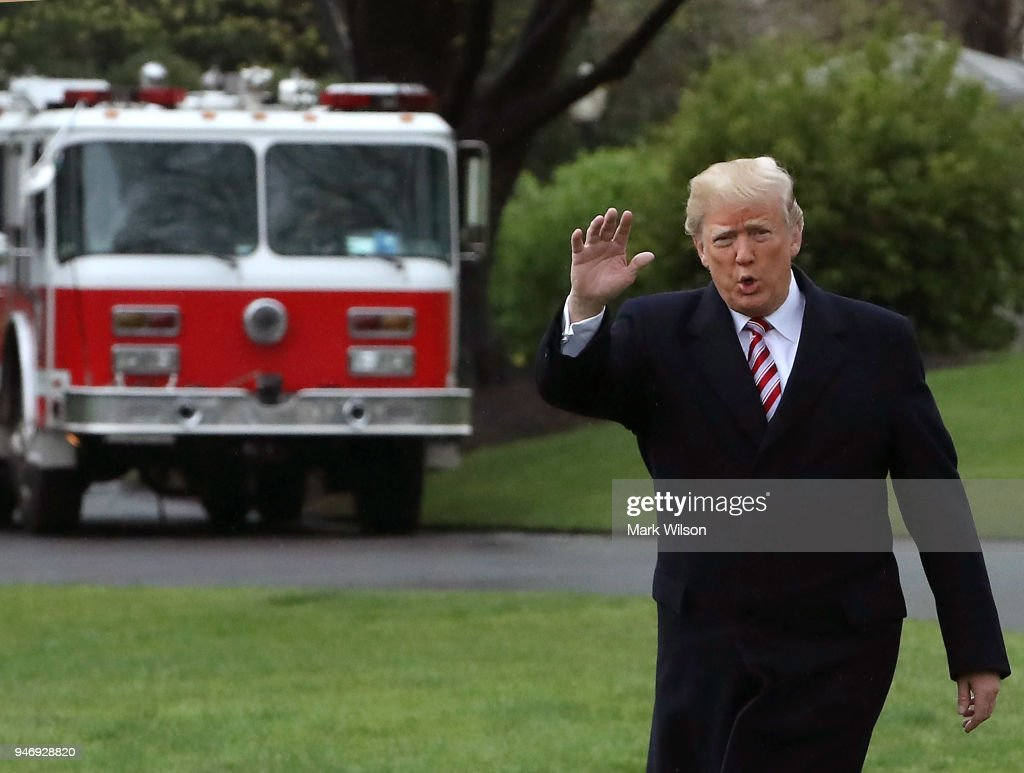U.S. President Donald Trump walks toward Marine One while departing from the White House, on April 16, 2018 in Washington, DC. President Trump is traveling to Hialeah, Florida where he will participate in a small business roundtable discussion on tax cuts.