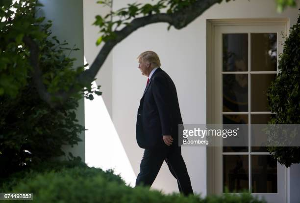US President Donald Trump walks towards Marine One to depart for the National Rifle Association leadership forum on the South Lawn of the White House...