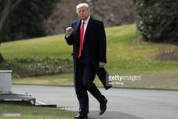 President Donald Trump walks towards the Marine One on the South Lawn prior to his departure from the White House January 30, 2020 in Washington, DC....