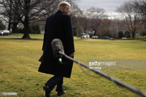 President Donald Trump walks towards the Marine One on the South Lawn prior to his departure from the White House February 7, 2020 in Washington, DC....