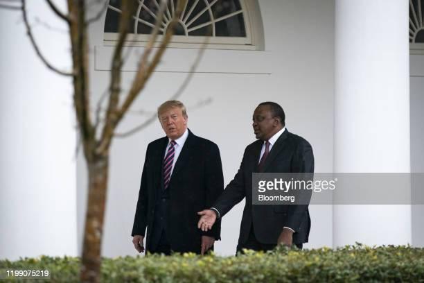 US President Donald Trump walks with Uhuru Kenyatta Kenya's president right outside of the White House in Washington DC US on Thursday Feb 6 2020...
