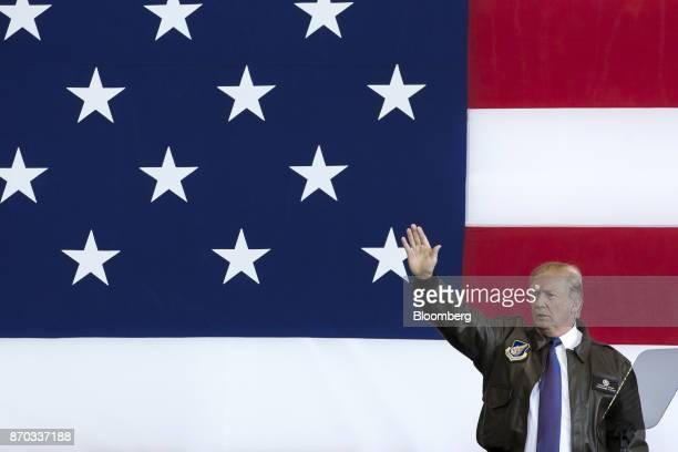 US President Donald Trump waves as he addresses US military personnel at Yokota Air Base in Fussa Tokyo Metropolis Japan on Sunday Nov 5 2017...