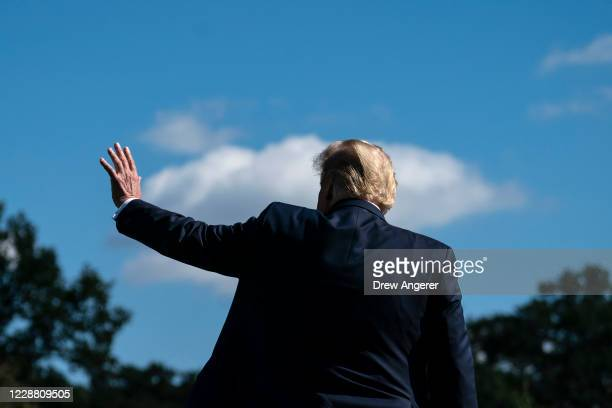 President Donald Trump waves as he walks toward Marine One on the South Lawn of the White House on September 30, 2020 in Washington, DC. President...