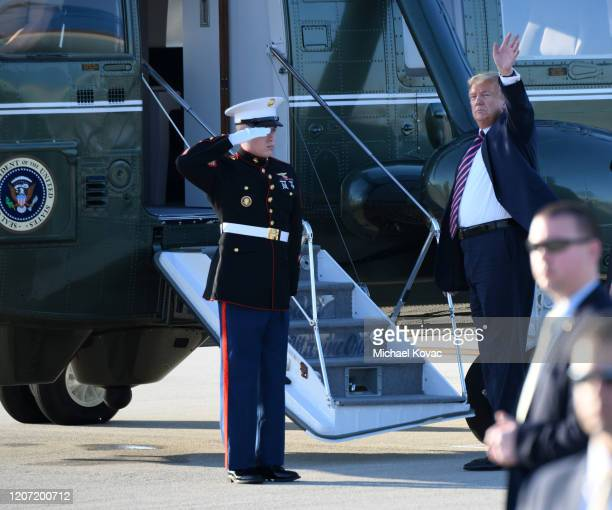 S President Donald Trump waves to supporters before boarding Marine One at LAX Airport on February 18 2020 in Los Angeles California