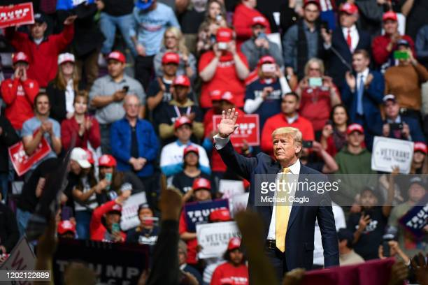 President Donald Trump waves to supporters during a Keep America Great rally on February 20, 2020 in Colorado Springs, Colorado. Vice President Mike...