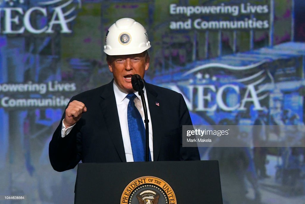 President Trump Addresses National Electrical Contractors Convention : News Photo