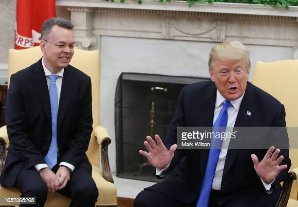 S President Donald Trump welcomes American evangelical Christian preacher Andrew Brunson to the Oval Office a day after Brunson was released from a...