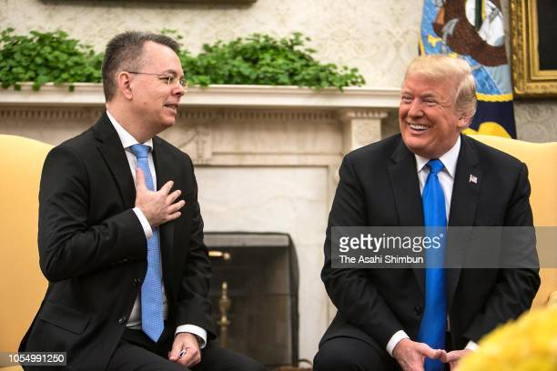 US President Donald Trump welcomes American evangelical Christian preacher Andrew Brunson to the Oval Office a day after Brunson was released from a...