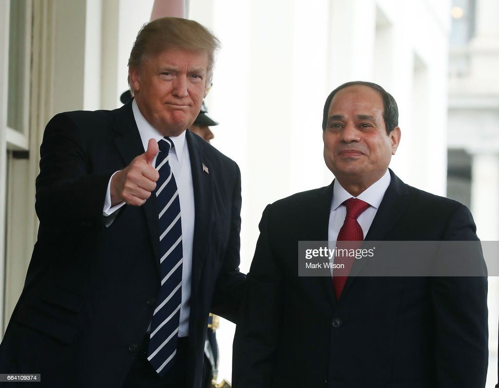 Trump Hosts Egyptian President Abdel Fattah Al Sisi At The White House : Nieuwsfoto's