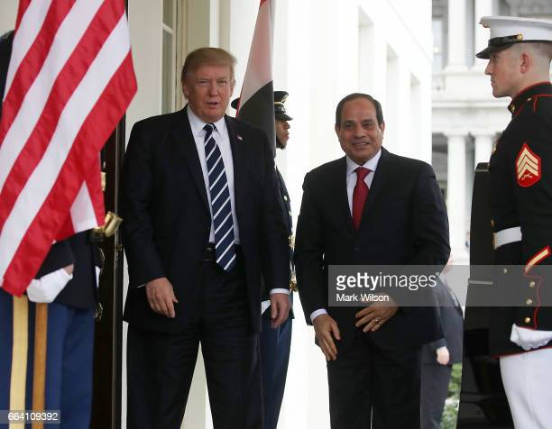 S President Donald Trump welcomes Egyptian President Abdel Fattah Al Sisi during his arrival at the West Wing of the White House on April 3 2017 in...