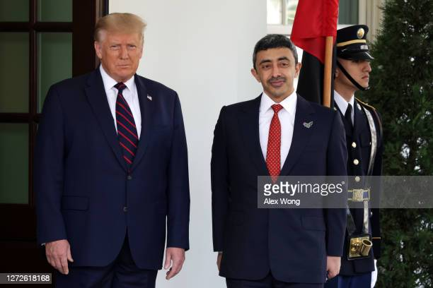 S President Donald Trump welcomes Foreign Affairs Minister of the United Arab Emirates Abdullah bin Zayed bin Sultan Al Nahyan during an arrival...