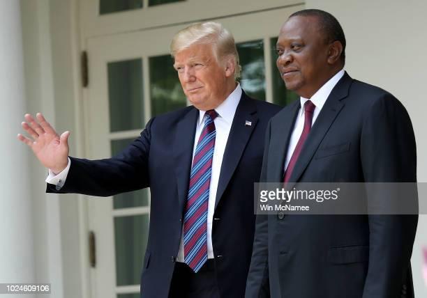 S President Donald Trump welcomes Kenyan President Uhuru Muigai Kenyatta to the White House August 27 2018 in Washington DC Trump and Kenyatta met...