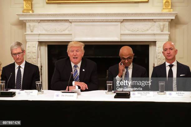 President Donald Trump welcomes members of his American Technology Council, including Apple CEO Tim Cook, Microsoft CEO Satya Nadella and Amazon CEO...
