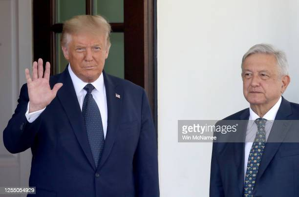 S President Donald Trump welcomes Mexican President Andrés Manuel López Obrador to the White House July 8 2020 in Washington DC Trump and López...