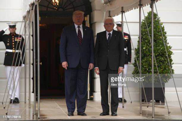 President Donald Trump welcomes President Sergio Mattarella of Italy at the South Lawn of the White House October 16, 2019 in Washington, DC....