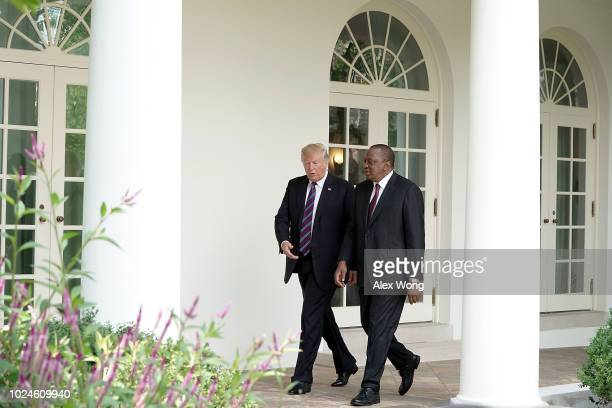 S President Donald Trump welcomes President Uhuru Kenyatta of Kenya to the White House August 27 2018 in Washington DC The two leaders met to discuss...