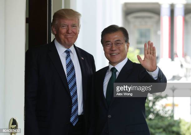 President Donald Trump welcomes South Korean President Moon Jae-in during an arrival outside the West Wing of the White House June 30, 2017 in...