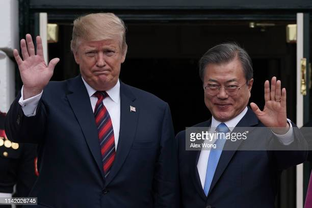 President Donald Trump welcomes South Korean President Moon Jae-in to the White House April 11, 2019 in Washington, DC. President Moon is in...