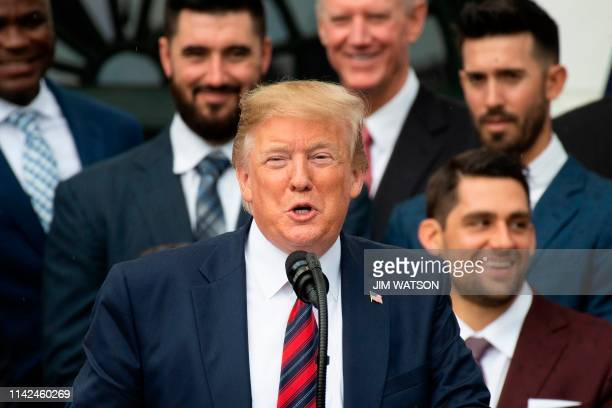 US President Donald Trump welcomes the 2018 World Series Champions Boston Red Sox to the White House in Washington DC on May 9 2019