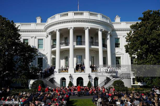 S President Donald Trump welcomes the 2019 World Series Champions the Washington Nationals to the White House November 4 2019 in Washington DC The...