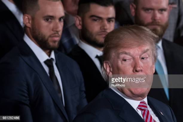 US President Donald Trump welcomes the Houston Astros to the White House to celebrate their World Series Championship in the East Room on Monday...