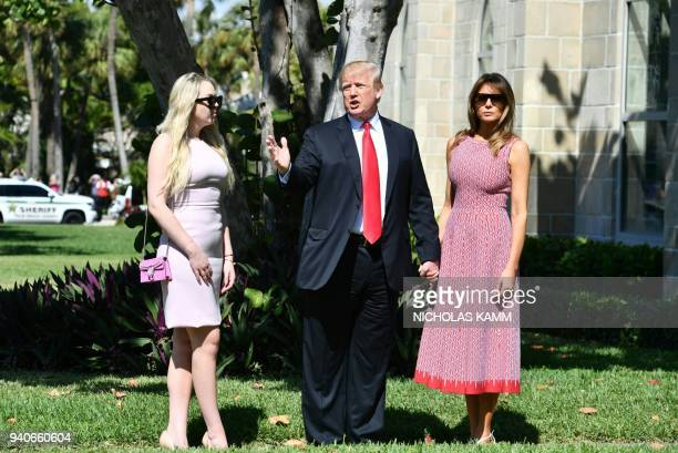 US President Donald Trump with First Lady Melania Trump and daughter Tiffany Trump arrive for Easter service at the Church of BethesdabytheSea in...