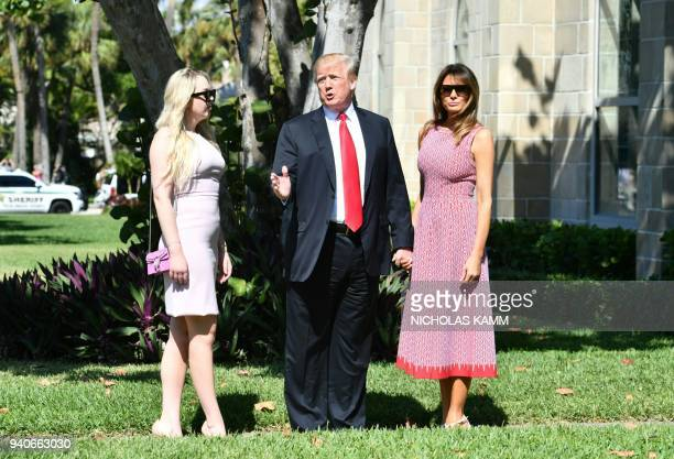US President Donald Trump with First Lady Melania Trump and daughter Tiffany Trump arrives for Easter service at the Church of BethesdabytheSea in...