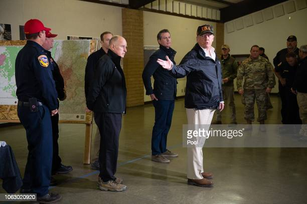 President Donald Trump with Gov Jerry Brown and Gov elect Gavin Newson tour the incident command post during his visit of the Camp Fire in Paradise...