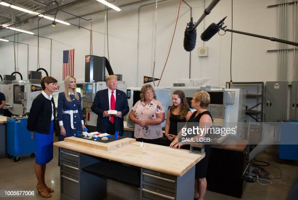 US President Donald Trump with Iowa Governor Kim Reynolds and Ivanka Trump tours an advanced manufacturing lab at Northeast Iowa Community College in...