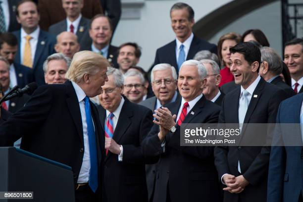 President Donald Trump with Senate Majority Leader Mitch McConnell of Ky Vice President Mike Pence and House Speaker Paul Ryan of Wis speaks about...
