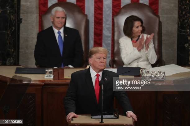 President Donald Trump, with Speaker Nancy Pelosi and Vice President Mike Pence looking on, delivers the State of the Union address in the chamber of...