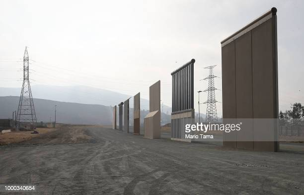 President Donald Trump's border wall prototypes stand near the USMexico border on July 16 2018 in San Diego California The entire Southwest border...