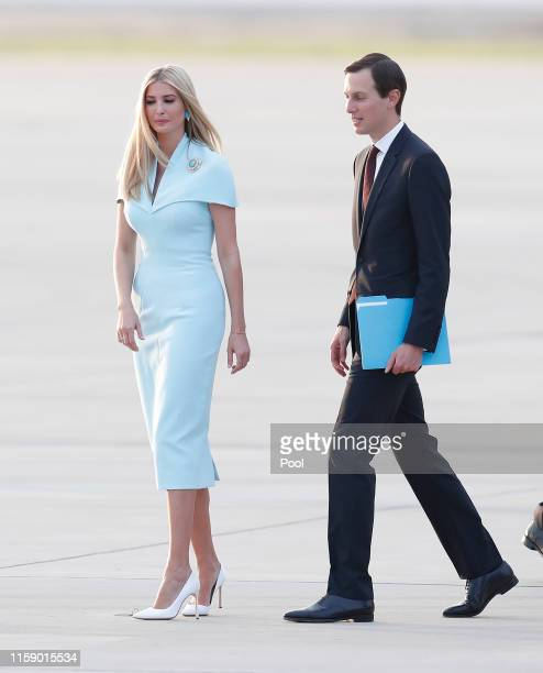 S President Donald Trump's daughter and White House advisor Ivanka Trump walks as US President Donald J Trump arrives at Osan Airbase on June 29 2019...