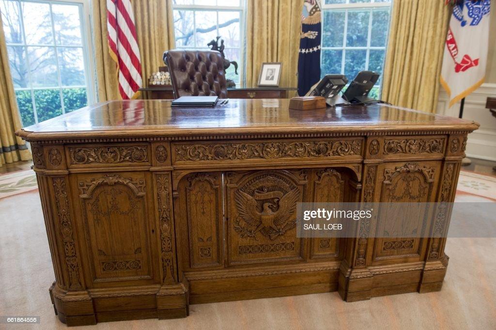 oval office resolute desk. US President Donald Trump\u0027s Desk, The Resolute Is Seen In Oval Office Desk