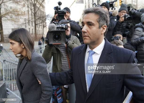 US President Donald Trumps former attorney Michael Cohen arrives with daughter Samantha Blake Cohen at US Federal Court in New York on December 12...