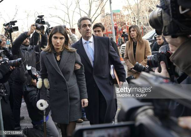 US President Donald Trumps former attorney Michael Cohen arrives with daughter Samantha Blake Cohen and wife Laura Shusterman at US Federal Court in...